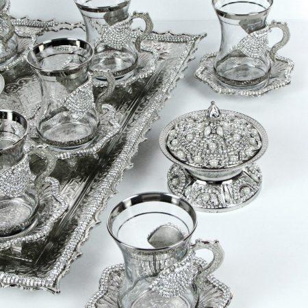 طقم شاي 6 اشخاص – فضي مرصّع بالالماس