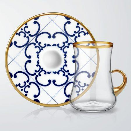 طقم كاسات شاي 6 اشخاص – مزخرف ازرق