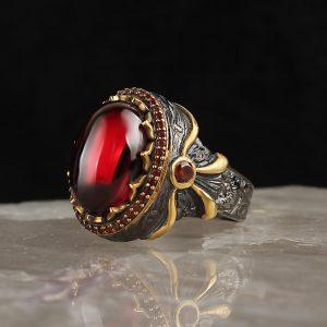Turkish silver ring (red zircon stone)