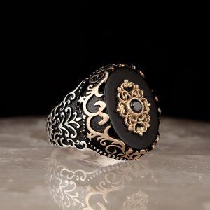 خاتم تركي فضة (عقيق يماني)